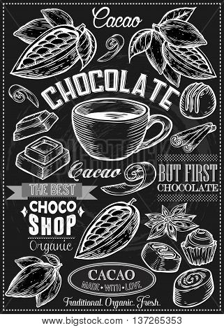 Cocoa, Cacao, Chocolate Vector Set Of Dessert Spices Logos, Labels, Badges And Design Elements. Retr