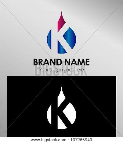 Letter k logo. Alphabet logotype vector design