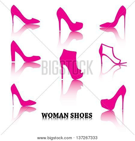 Set of woman shoes silhouettes with reflections. Pink purple female fashion icons on white. Raster copy