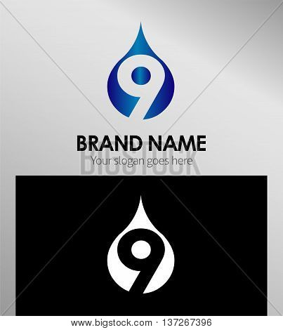 Number nine 9 logo icon template elements