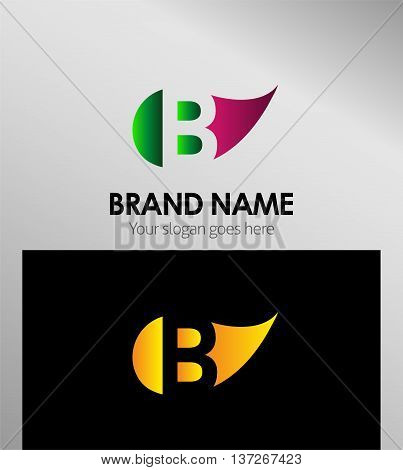 Leaf icon Logo Letter B template design vector
