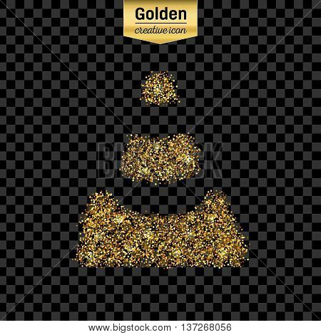 Gold glitter vector icon of traffic cone isolated on background. Art creative concept illustration for web, glow light confetti, bright sequins, sparkle tinsel, abstract bling, shimmer dust, foil.