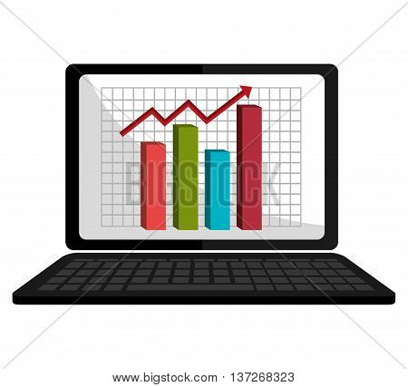 Digital spreadsheets on electronic device, isolated flat icon vector illustration.