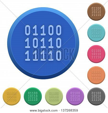 Set of round color embossed binary code buttons