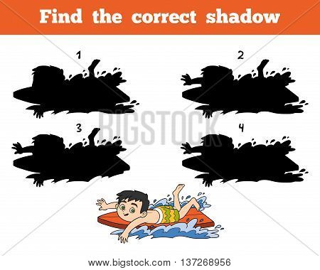 Find The Correct Shadow, A Boy Riding A Surf