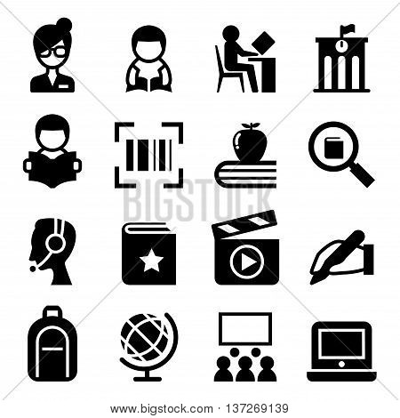 Library icon set Vector illustration Graphic design