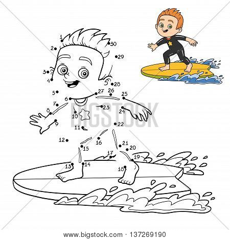 Numbers Game, Dot To Dot. A Boy Riding A Surf