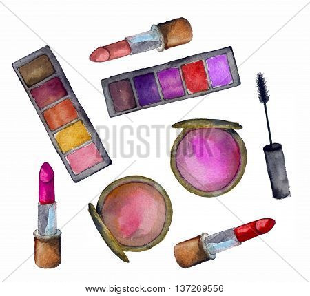 watercolor sketh of cosmetics for face on a white background