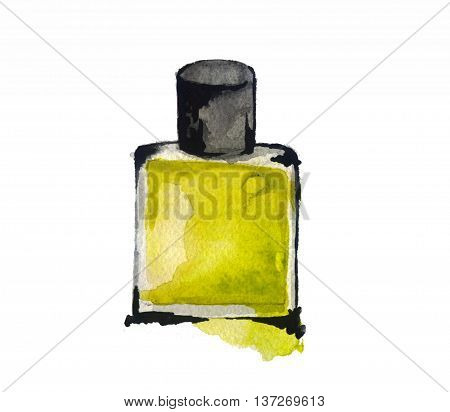 watercolor sketch: a bottle of perfume on a white background