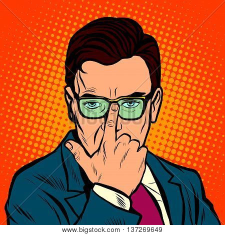 The man adjusts her glasses. pop art retro vector realistic hand drawing illustration