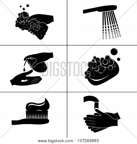 Black and white icons hygiene isolated on a white background