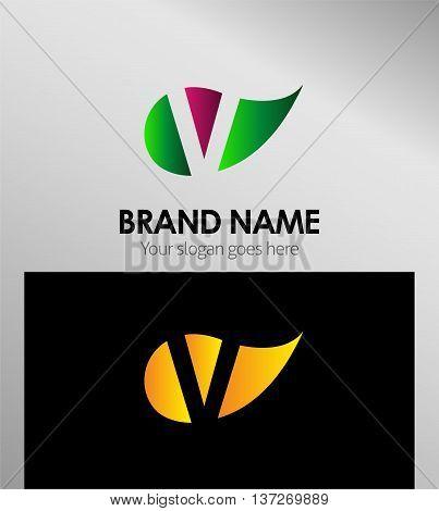V letter Eco logo V letter Eco logo