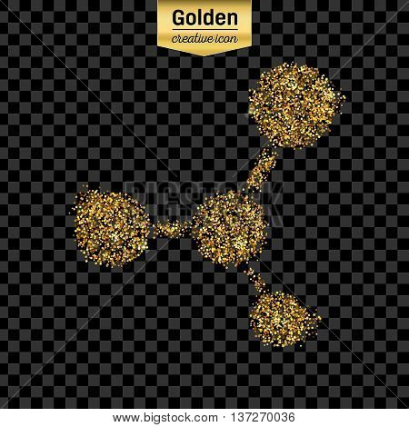Gold glitter vector icon of moleculas isolated on background. Art creative concept illustration for web, glow light confetti, bright sequins, sparkle tinsel, abstract bling, shimmer dust, foil.