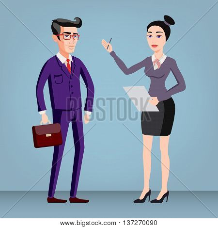Full Length Picture Of A Young Business Man And Woman Walking Forward With A Briefcase Isolated On C