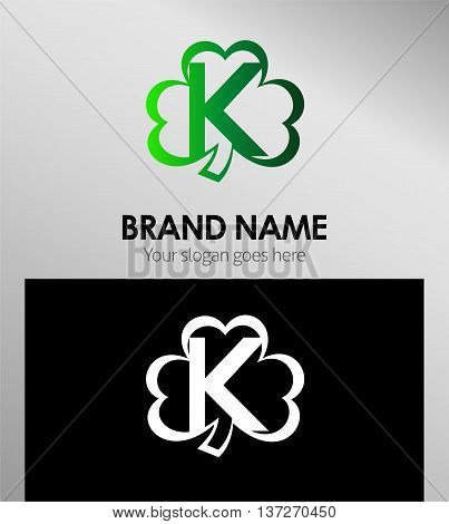 Letter K logo Clover icon design template elements
