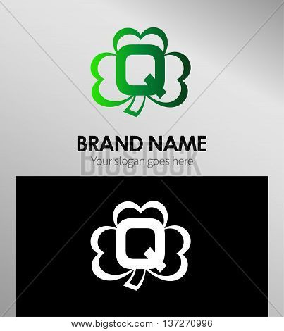 Alphabetical Clover Logo Design Concepts. Letter Q