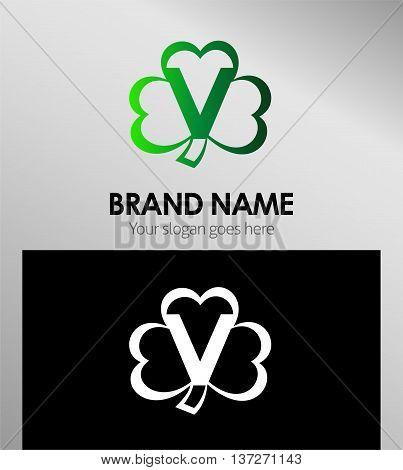 Alphabetical Clover Logo Design Concepts. Letter V