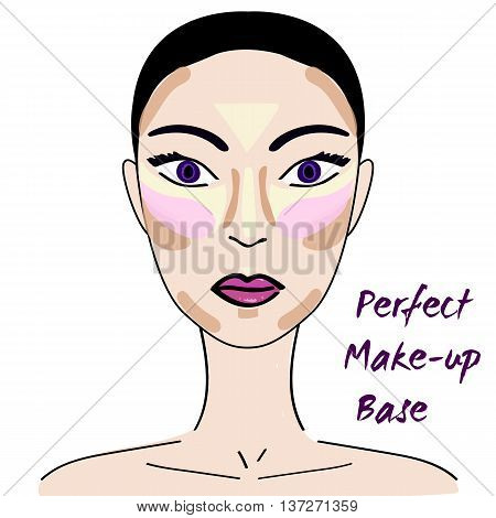 Perfect make up base. How to make perfect make up. Contouring and highlighting face. Make up base. How to contour the face.