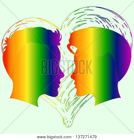 Love has no limit. Rainbow heart. Conceptual design for greeting card, logo, label, banner or clothing design. Lesbian support symbol. LGBT theme. Vector illustration.