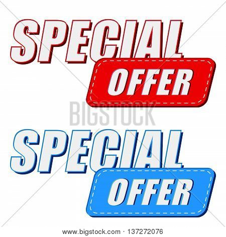 special offer in two colors labels, business shopping concept, flat design, vector