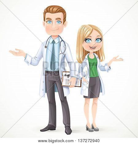 Cute male and womam doctor in a white coat with planchette with a history of the disease shows the side hand isolated on a white background
