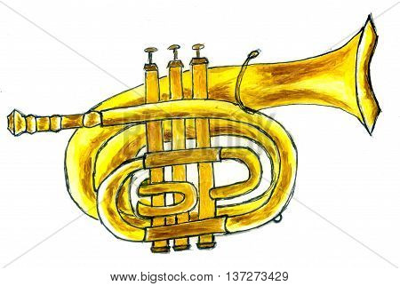 Cartoon trumpet in simple sketch style hand drawn illustration.