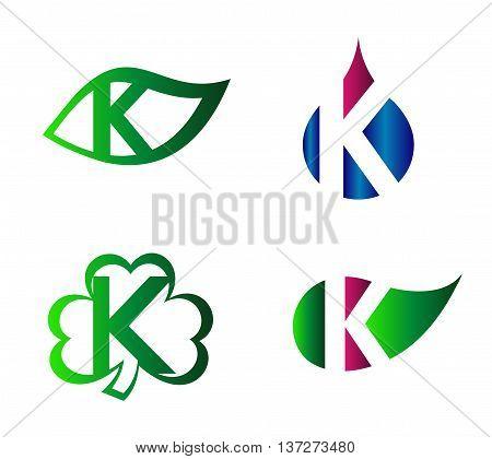 Abstract K round logo design template. Vector creative symbol