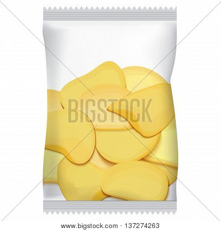 packaging for chips with chips, vector illustration, isolated on white background