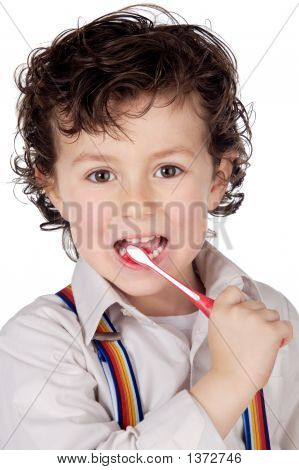 Adorable Boy  Child Cleaning The Teeth