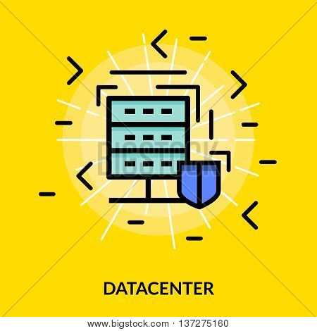 Datacenter colored isolated flat icon in white light on yellow or canary background vector illustration