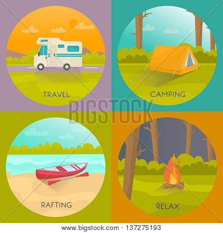 Tourist campings concept with house trailer tent in forest boat on beach night bonfire isolated vector illustration