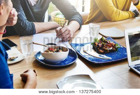 Business People Meeting Eating Discussion Cuisine  Concept
