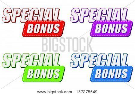 special bonus in four colors labels, business shopping concept, flat design, vector