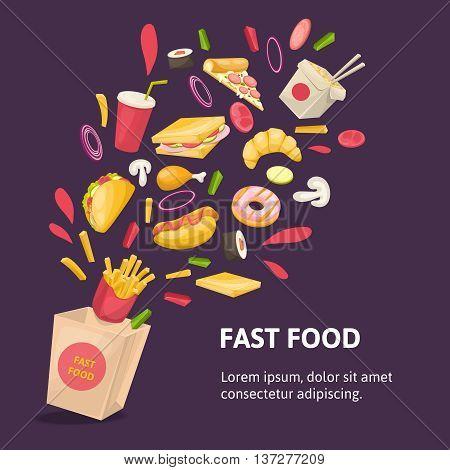 Fast food composition with carton box potato taco donut mushrooms onion drink on purple background vector illustration