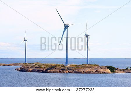Power generators at Baltic Sea in Aland region.