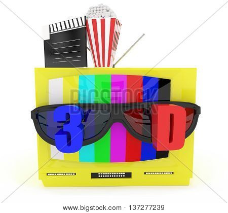 3D Television With Stereoscopic 3D Support With Film Clapboard And Popcorn Placed Top Of The Tv Conc