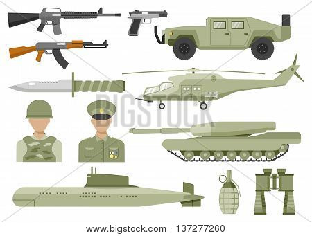 Army decorative flat icons set with avatars of officer and soldier helicopter tank submarine isolated vector illustration