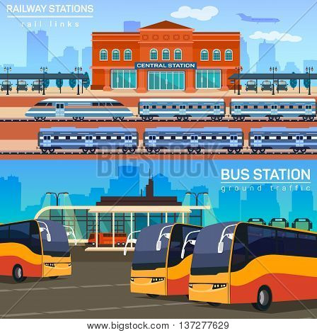 Rail network or link with train or locomotive, express and bus station for passenger and luggage transportation. Tourism and travel, trip conception