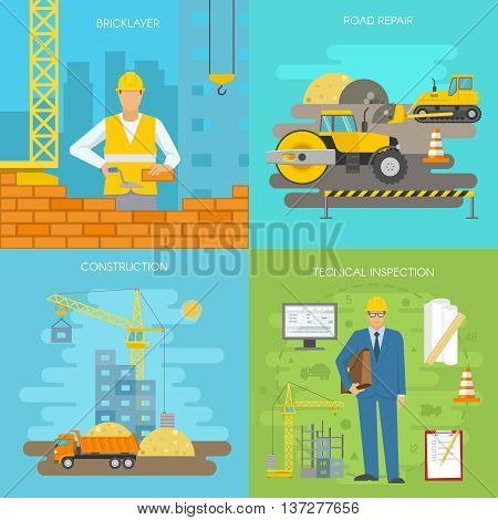 Construction icon set with descriptions of bricklayer road repair construction and technical inspection vector illustration