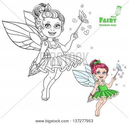 Beautiful little summer fairy with magic wand and butterflies color and outlined picture for coloring book on white background