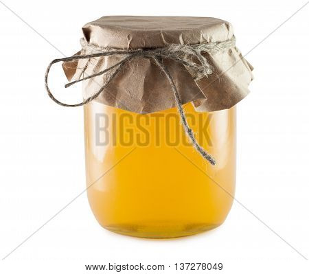 Bank with a net beneficial natural honey on a white background isolated.