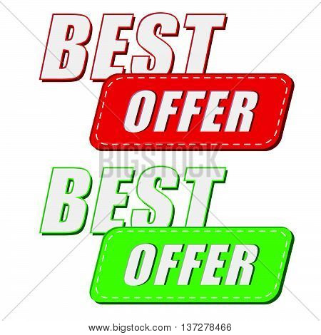 best offer in two colors labels, business shopping concept, flat design, vector