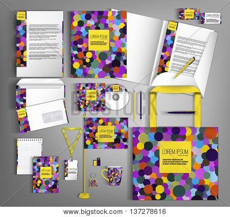 Corporate identity template design with colorful circles. Business set stationery in typographic style, brochure, card, letterhead, catalog, pennants. Suitable for brand advertising