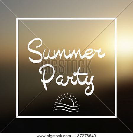 Summer Party Lettering Vector Background