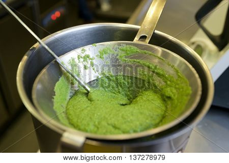 Preparation of vegetables pureed in a restaurant.