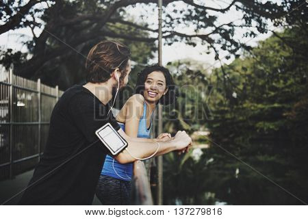 Interracial Partner Nature Fitness Concept