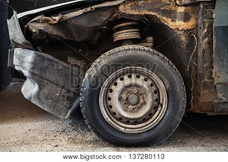 Abandoned Rusted Car, Old Wheel
