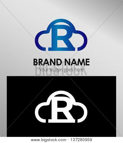 Cloud stylish logo and R icons template design vector