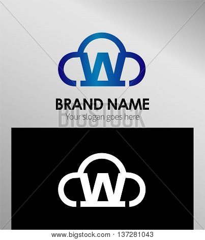 Cloud stylish logo and W icons template design vector