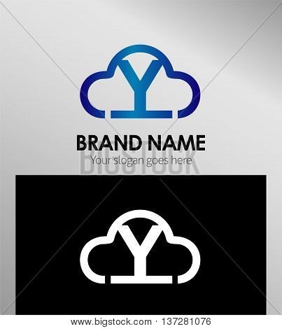 Cloud stylish logo and Y icons template design vector